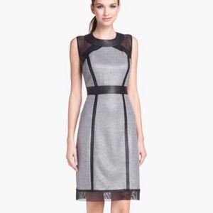 MILLY - NWT Mesh & Leather Inset Sheath Dress - 6